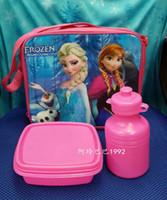 Wholesale new fro zen lunch bag set fro zen lunch bag with bottle girls fro zen shoulder bags elsa school Lunch Bag hot sale anna lunch bag lunchbox