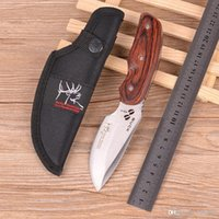 Cheap BUCK 480 Hunting Wood Handle Fixed Blade Tactical Boot Knife Survival Tools
