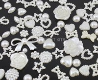 assorted pearls - 1000pcs Mixed Irregular Flatback Pearl Cabochon Assorted Styles in Cream Color for cell phone decor jewelry DIY multi designs