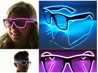 Wholesale El Wire Glow Sun Glasses Led DJ Bright Light Safety Light Up Multicolor Frame Voice control led flashing glasses