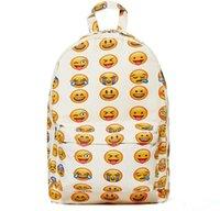 Wholesale 2015 Emoji Pattern Backpack Bags Women Men Shoulder Bag Children School Bag Campus Travel Rucksack Cartoon Face Printed Packsack Knapsack