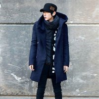 Wholesale British Fashion Mens Wool Coats Double Breasted Long Jacket Discount Turn down Collar Warm Coats N1