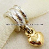 De alta calidad 925 plata esterlina 14K oro verdadero corazón cuelga Charm el ajuste del grano del estilo europeo de Pandora pulseras de la joyería Collares