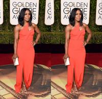 art awards - Angela Bassett Golden Globe Award One Shoulder Floor Length Art Neck Sheath Side Split Evening Gowns For Party Event