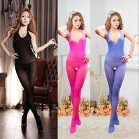 women silk socks - Halter jumpsuit bodystocking Silk stockings G string erotica sexy lingerie open bust body rompers nightie dress sexy rompers for women