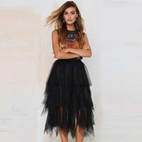 Wholesale Fashion Mid Calf Asymmetry Ruffles Tulle Skirts For Lady Women Fashion Tiered Skirt Tutu Cool Skirts For Women Plus Size Skirts