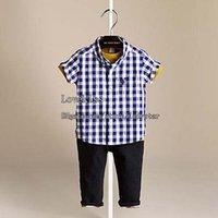 Wholesale Boy Suit Children Clothes Kids Clothing Boys Korean Short Sleeve T Shirts Summer Denim Shorts Baby Suit Children Set Kids Suit Outfits C100