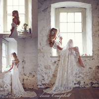 Wholesale Anna Campbell Lace Wedding Dresses Vintage A Line With Capped Short Sleeves V Neck Backless Bridal Gowns Plus Size Custom Made