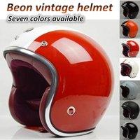 Envío libre Capa del casco de la motocicleta de los capacetes del casco de la vendimia con el cuero que compite con los cascos retros de la vespa ECE M L XL
