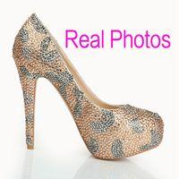 shoes - Crystal Rhinestone Wedding Dress Shoes Platform Round Toe Stiletto Heel cm Champagne Women Cocktail Evening Bridal Accessories Cheap