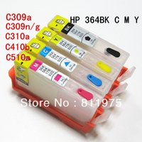 Wholesale For HP364XL BK C M Y For HP Photosmart Premium C309a C309n g C310a C410b refillable ink cartridge with chips