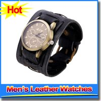 best casual dresses for men - Hot Best selling Europe Punk Style Mens Watches PU Leather Straps Retro Wristwatch Casual Dress Quartz Watches For Men