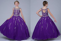Wholesale Jewel Purple Girls Pageant Dresses Back Hollow Full Beading Special Occasion Party A line Full Length Children Gowns Wedding Party Gown