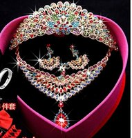 crowns and tiaras - Best Selling new Chinoiserie peacock Crystal tiaras crowns Necklace And Earrings Shining Cheap Wedding Accessories luxury bridal tiara