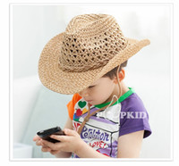 Wholesale 2015 New Summer Beach Hat HT hand woven children boys and girls curling cowboy hat jazz straw hat A070719
