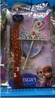Cheap hot sales Princess Hair accessories(2pcs Crown+2pcs wig+2pcs magic wand) FROZEN ANNA AISHA ELSA free 4pcs bb clip 10pcs lot