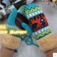 Wholesale The new package mail South Korea female version of winter mittens Lovely fawn double heat preservation with thick gloves