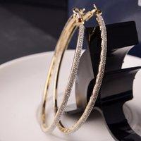 Clásico estilo de la marca de cosecha de gran tamaño aro pendientes de la joyería de moda de 14 quilates de oro llena de grandes aretes Huggie mujeres pendientes de la boda