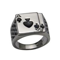 Wholesale Cool Men s Jewelry Chunky K White Gold Plated Black Enamel Spades Poker Ring Men Size Hotsale