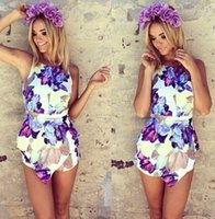 Wholesale 2014 Summer Fashion European Womens Bodycon Floral Sleeveless Slim Fit Sexy Pants Romper Jumpsuits Purple Shorts Dress Jumpsuit A1747