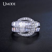 belt two rings - UMODE Two Channel Belt Buckle Ring With Round and Square Cut Cubic Zirconia White Gold Plated Jewelry For Women UR0200