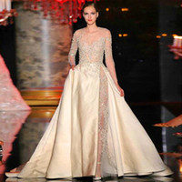 Wholesale 2015 Elie Saab Dresses Sheer Beaded Puffy A line Sweep Train Satin Long Formal Dresses with Appliques Long Sleeves Celebrity Dresses Gowns