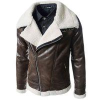 pelle pelle jackets - Leather Jacket Fur Hood Men Shearling Collar Motorcycle Jackets Boutique Winter Outerwear Biker Suede Coats Giacca Pelle Uomo