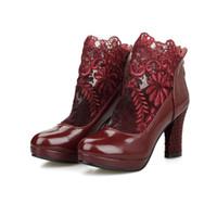 zapatos de punta redonda HOT hembras malla talón grueso tacón alto las mujeres bombea los zapatos de boda de primavera 2016 zapatos de novia para novias bombea el tamaño 34-39