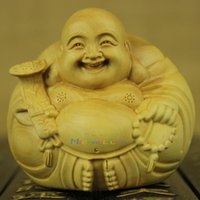 wood carving statue - Chinese Home Decor Wood CraftsChinese Feng Shui hand carved wood carving boxwood Laughing Buddha Statue yi tuan he qi