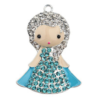 Wholesale Cute Charms Rhinestone Elsa Charms Charm Pendants Silver Plated Frozen Cartoon Princess Pendants for Christmas