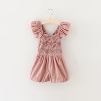 Wholesale Hug Me Baby Girls One Pieces Lace Romper New Summer Rose Floral Cotton Romper Sling Leggings BB