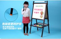 Multicolor 5-7 Years Wood Children's black and white drawing board. Can be lifting scaffolding double-sided magnetic. Children solid wood panel.