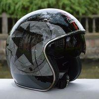 Capacete libre del casco del envío Tanked que compite con el casco retro de la vendimia de la cara abierta 3/4 Cascos interiores del interruptor del casco de la motocicleta de la lente