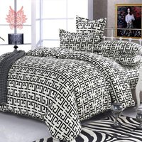 Wholesale Black white abstract geometric Print blushed comforter cover set duvet cover Bed sheet Pillowcase Home textileSP1695