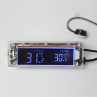 Wholesale Digital LCD in out thermometer blue orange back light V universal in car use