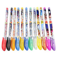 Wholesale Frozen Gel Pen Shining Glitter Ballpoint Writing Stationery Set Multi Color Pens with retail package Xmas children gift
