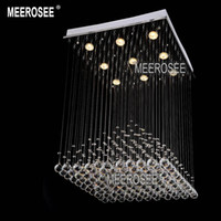 Cheap Square Crystal chandelier Light Fixture Pyramid Shape lustres Lamp Crystal Light for Stair   Foyer  Hallway Ready Stock W 600mm