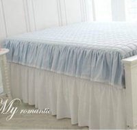 Wholesale Korea genuine purchasing elegant blue cotton quilted bed Li bed skirts bedspreads multiple sizes