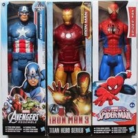 Wholesale 12 quot CM New Super Heroes The Avenger SpiderMan Iron Man Captain America action Figures Kids Toys Dolls gifts