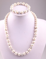 Wholesale New arrival mm mm crystal glass pearl beads and disco pave ball necklace bracelet jewelry set