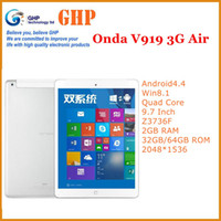 Cheap Onda V919 Air 3G Dual Boot Android4.4 + Win8.1 Quad Core 9.7 Inch Z3736F 2GB RAM 32GB 64GB ROM BT 2048*1536 Dual Camera Tablet