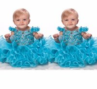 baby pool party - Gorgeous Pool Blue Girl s Pageant Dresses V Neck Sequins Crystal Capped Shoulder Hand Made Flower Baby Cupcake Gowns Piping Kids Party Gown