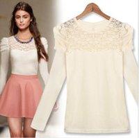 Cheap Long Sleeve blusas femininas 2014 Black Women Blouses O-Neck Lace Chiffon Blouse White Fashion blusa de renda