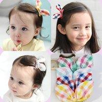 Cheap Girls Rabbit ear hair clip grid style hairpin headbands for girls Bow baby girl hair accessories kids hair accessories baby headbands AS152