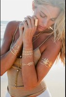 Wholesale Body art painting gold tattoo flash metallic gold temporary tattoos glitter fluorescent tattoos stickers tatoo choker