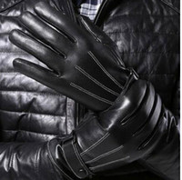 Wholesale 2014 new touch screen leather men gloves five fingers gloves warm stuffed outdoor gloves