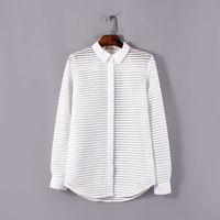 american wind shirt - Wind women new Autumn Ladies European and American fashion transparent collar wild striped long sleeved shirt lapel jacket