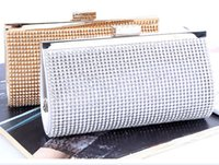 Wholesale Woman Evening bag Lady Diamond Rhinestone Clutch Crystal Clutch Wallet Purse for Wedding Party Bridal Hand Bags Gold Silver