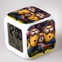 alarms table decorations - Novelty Despicable Me Minions Digital Alarm Clock LED Colorful Change Night Light For Kids Christmas Gifts Table Decorations New Arrival