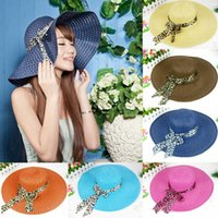 women straw hats - 2015 Women Sun Hat Candy Color Straw Hat Fashion Wide Large Brim Summer Beach Cap with Leopard Ribbon Rose MZ005